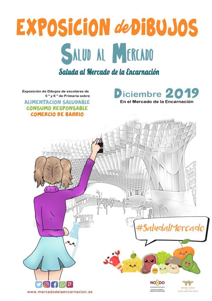 Cartel de la Exposición de dibujos Saluda al Mercado .